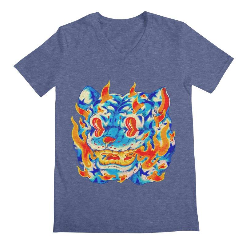 Frost Flame Tiger Men's Regular V-Neck by villainmazk's Artist Shop