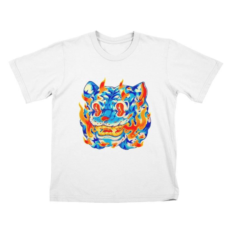 Frost Flame Tiger Kids T-Shirt by villainmazk's Artist Shop
