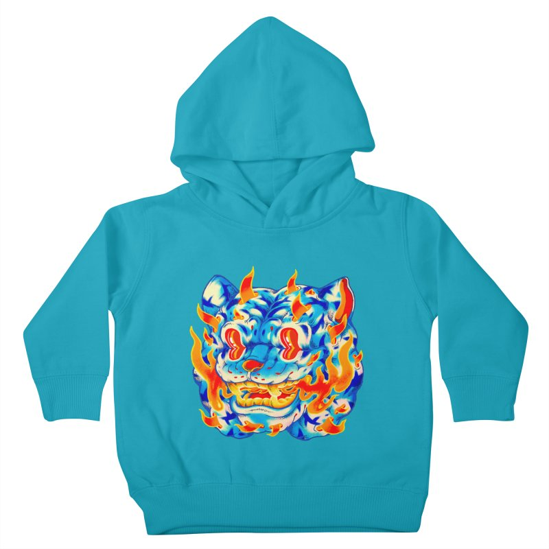 Frost Flame Tiger Kids Toddler Pullover Hoody by villainmazk's Artist Shop