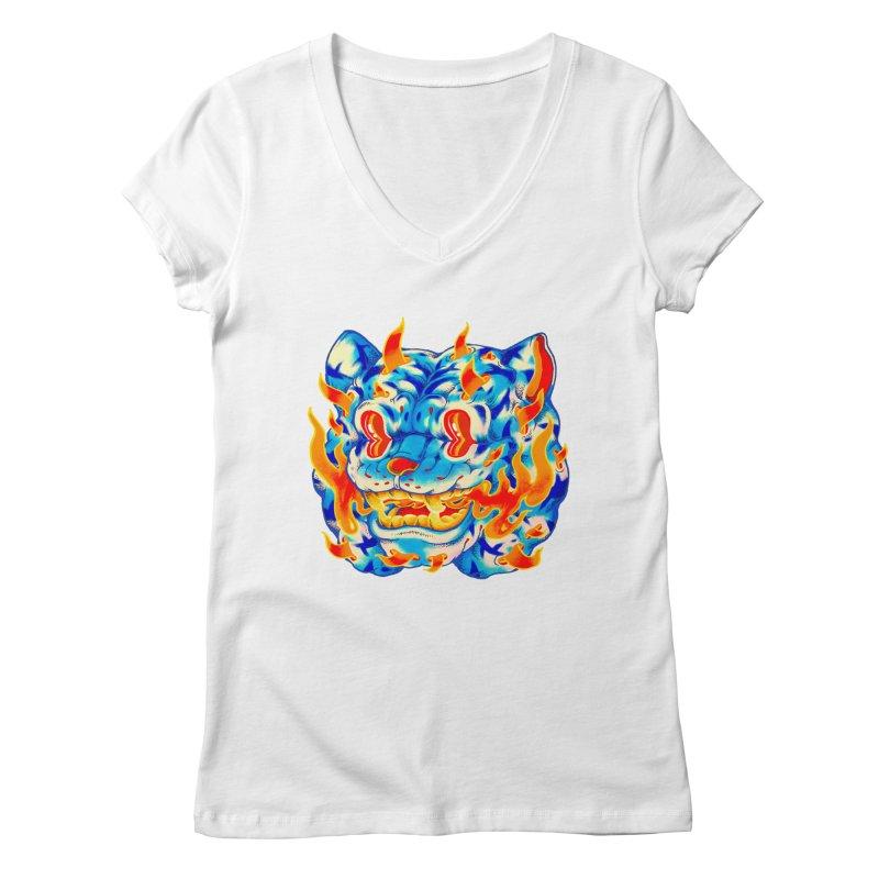 Frost Flame Tiger Women's Regular V-Neck by villainmazk's Artist Shop