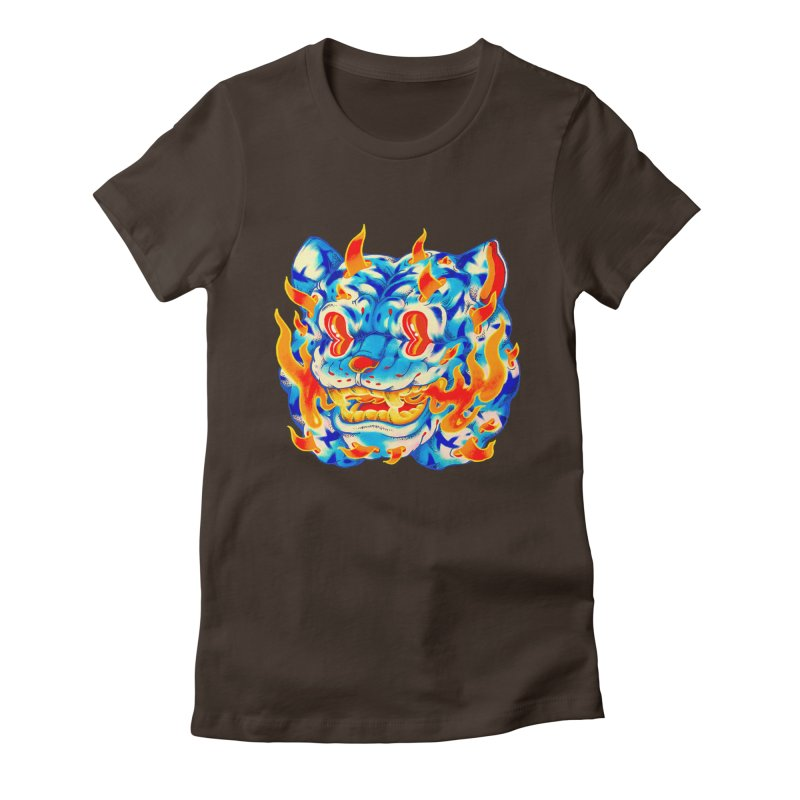 Frost Flame Tiger Women's Fitted T-Shirt by villainmazk's Artist Shop