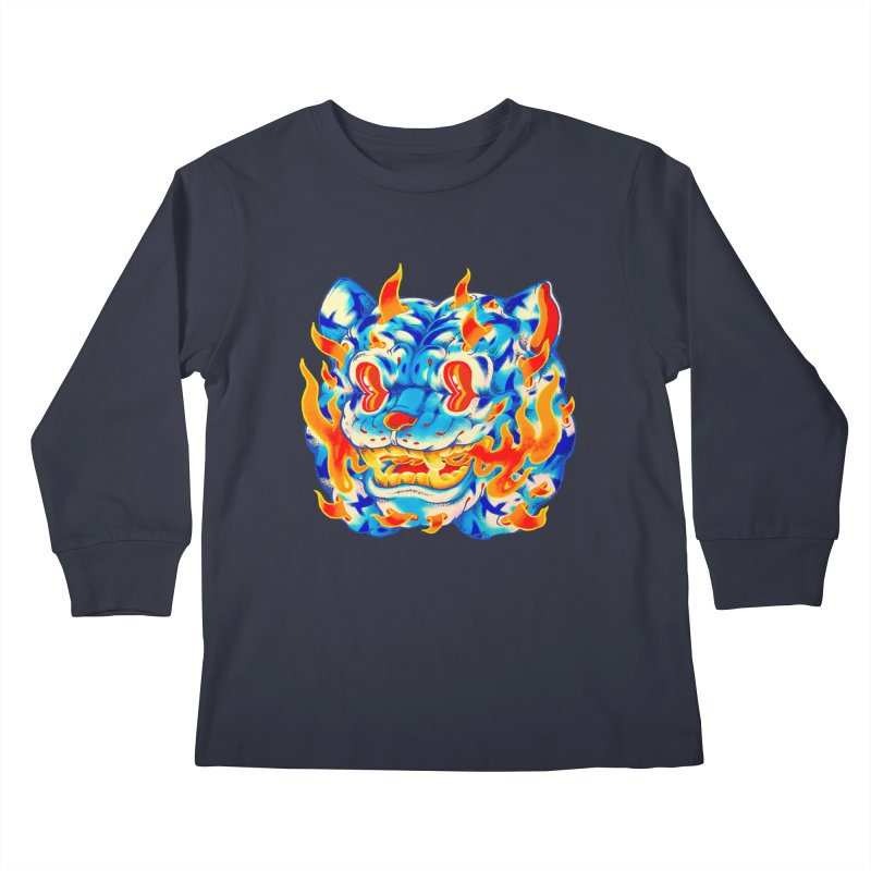 Frost Flame Tiger Kids Longsleeve T-Shirt by villainmazk's Artist Shop