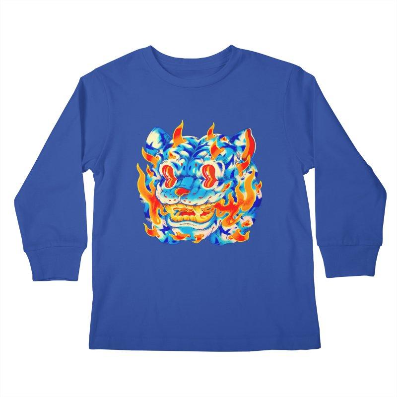 Frost Flame Tiger Kids Longsleeve T-Shirt by villainmazk's Artist Shop