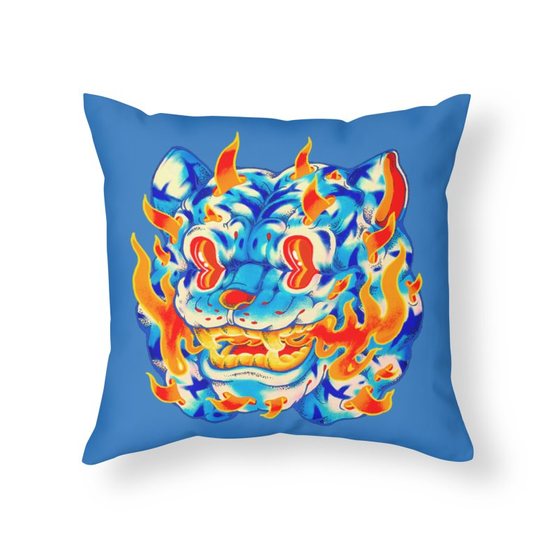 Frost Flame Tiger Home Throw Pillow by villainmazk's Artist Shop