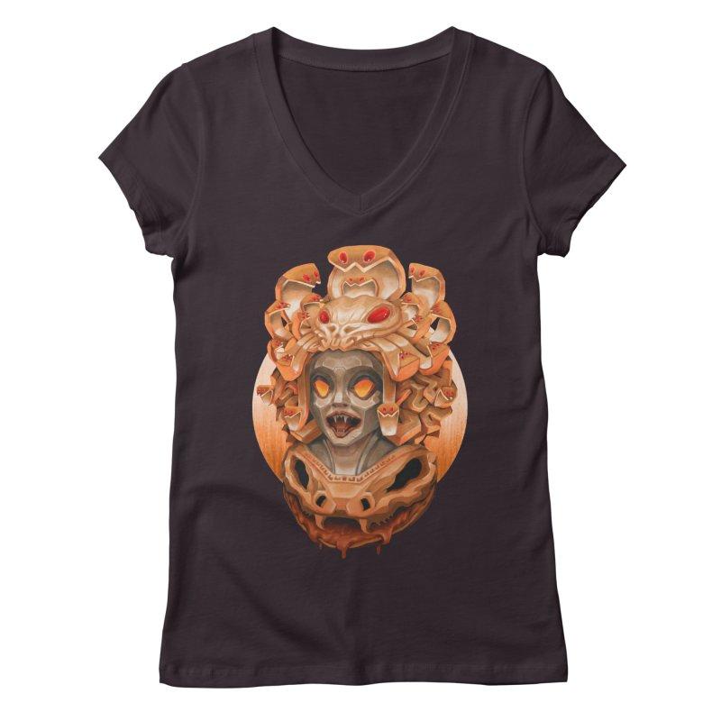 Golden Medusa Women's Regular V-Neck by villainmazk's Artist Shop