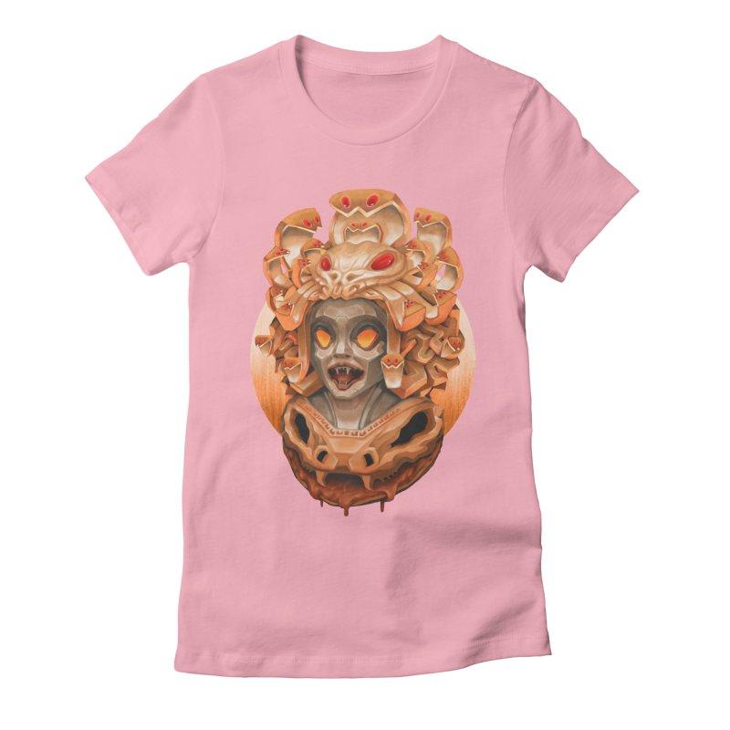 Golden Medusa Women's Fitted T-Shirt by villainmazk's Artist Shop