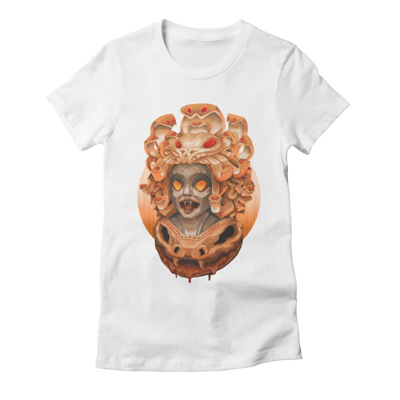 Golden Medusa Women's Fitted T-Shirt by villainmazk's Artist Shop
