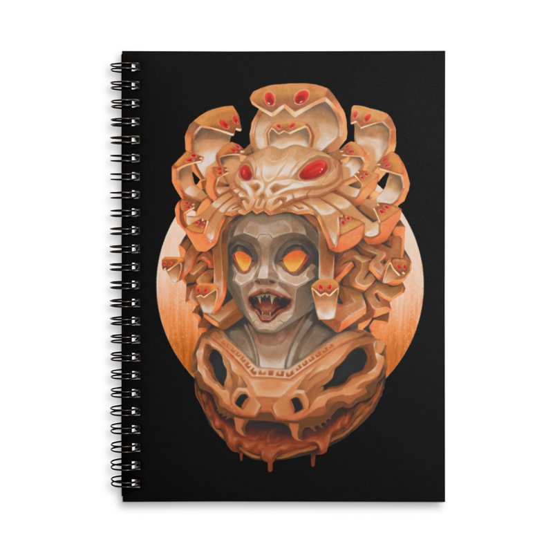 Golden Medusa Accessories Lined Spiral Notebook by villainmazk's Artist Shop