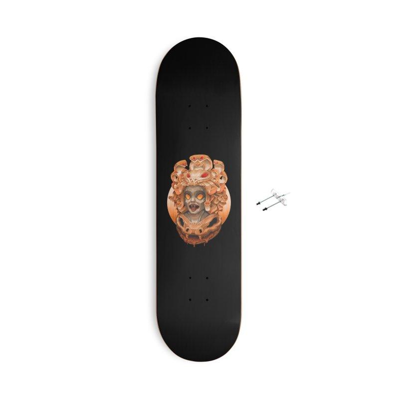 Golden Medusa Accessories With Hanging Hardware Skateboard by villainmazk's Artist Shop