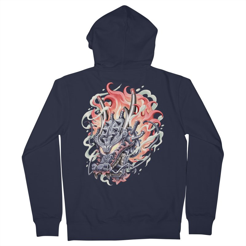 Dragon Steam Men's French Terry Zip-Up Hoody by villainmazk's Artist Shop