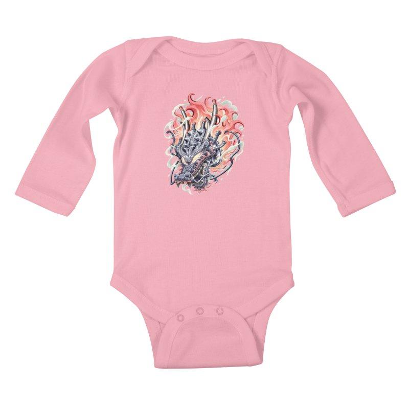 Dragon Steam Kids Baby Longsleeve Bodysuit by villainmazk's Artist Shop