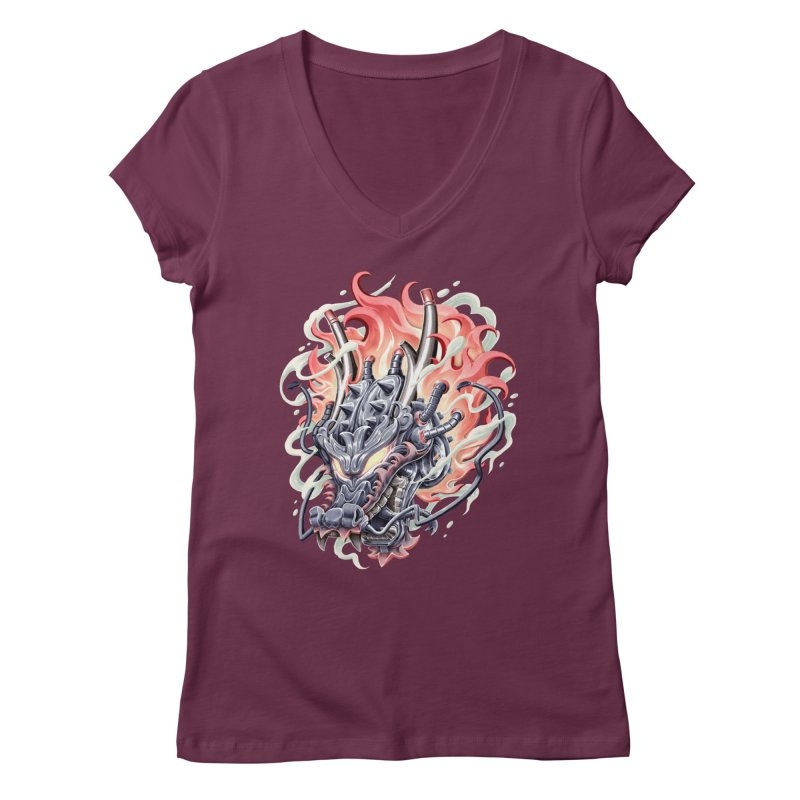 Dragon Steam Women's Regular V-Neck by villainmazk's Artist Shop