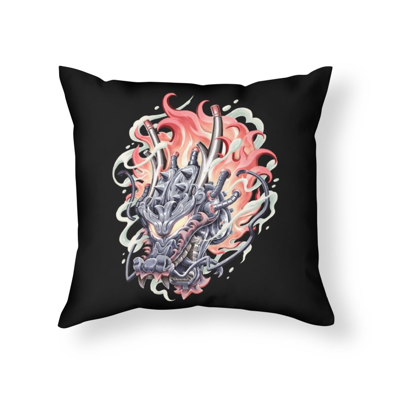 Dragon Steam Home Throw Pillow by villainmazk's Artist Shop