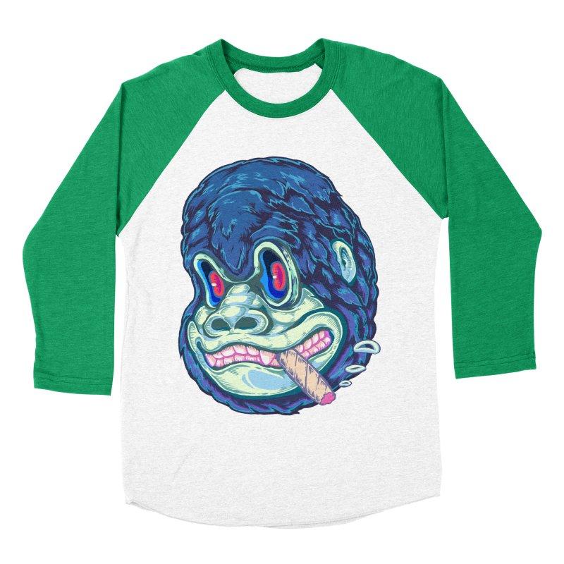 Smoking King Kong Men's Baseball Triblend T-Shirt by villainmazk's Artist Shop