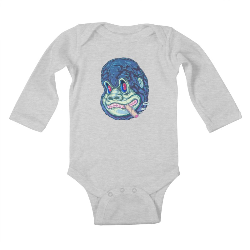 Smoking King Kong Kids Baby Longsleeve Bodysuit by villainmazk's Artist Shop