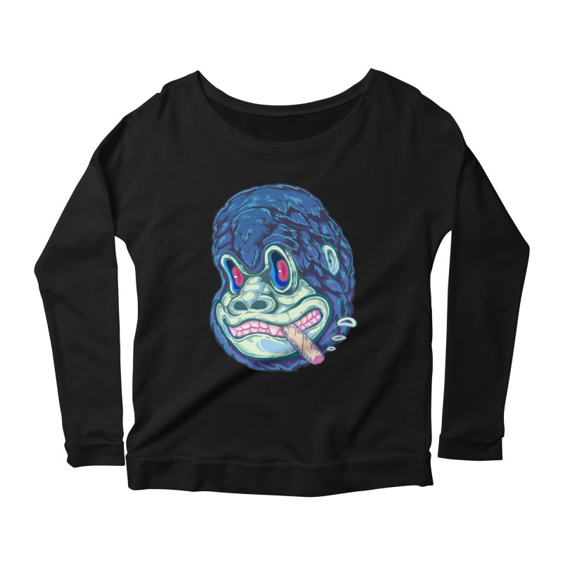 Smoking King Kong Women's Longsleeve Scoopneck  by villainmazk's Artist Shop