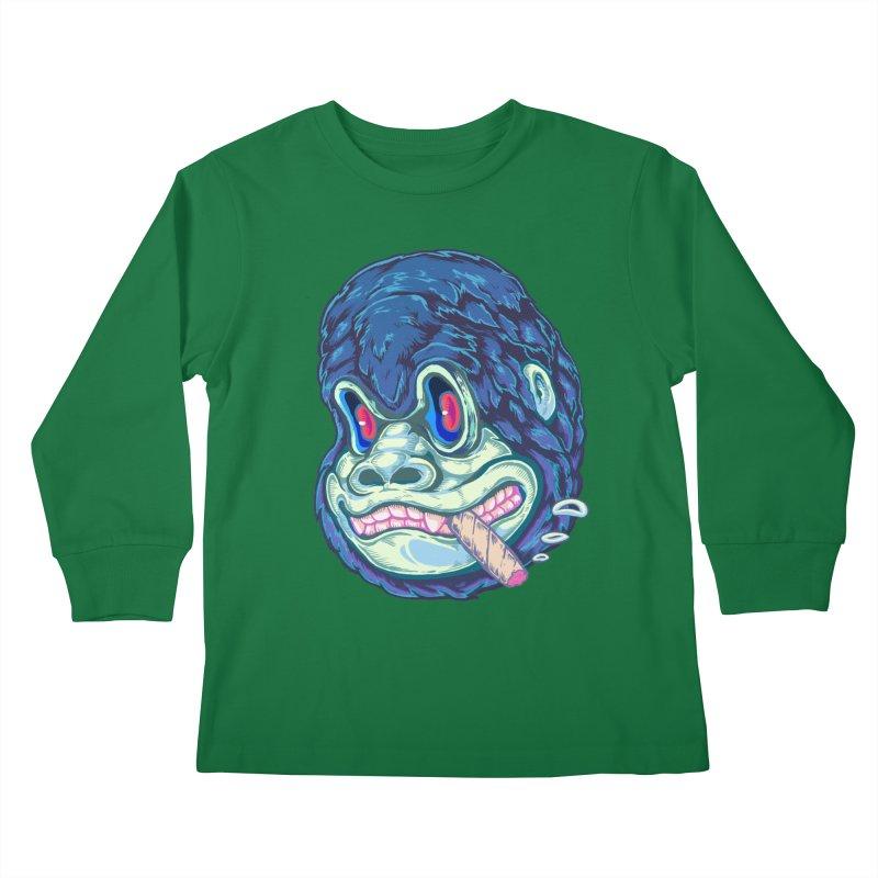 Smoking King Kong Kids Longsleeve T-Shirt by villainmazk's Artist Shop