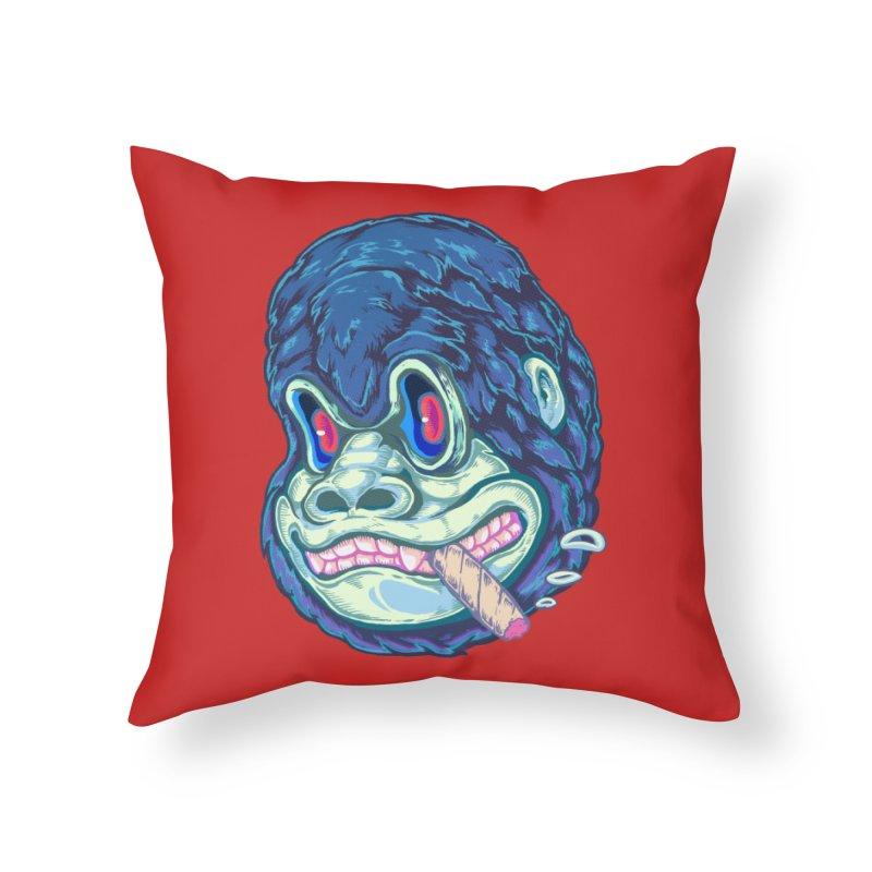 Smoking King Kong Home Throw Pillow by villainmazk's Artist Shop