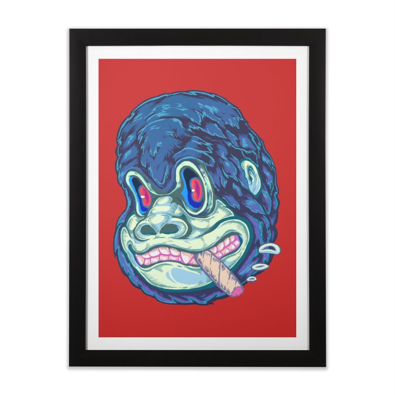 Smoking King Kong Home Framed Fine Art Print by villainmazk's Artist Shop