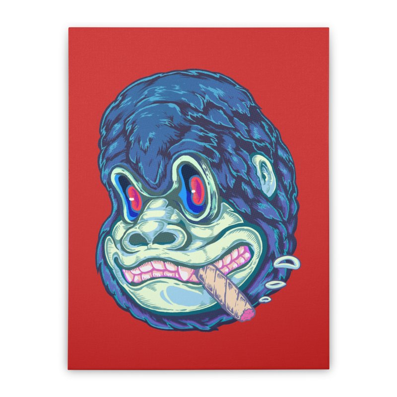 Smoking King Kong Home Stretched Canvas by villainmazk's Artist Shop