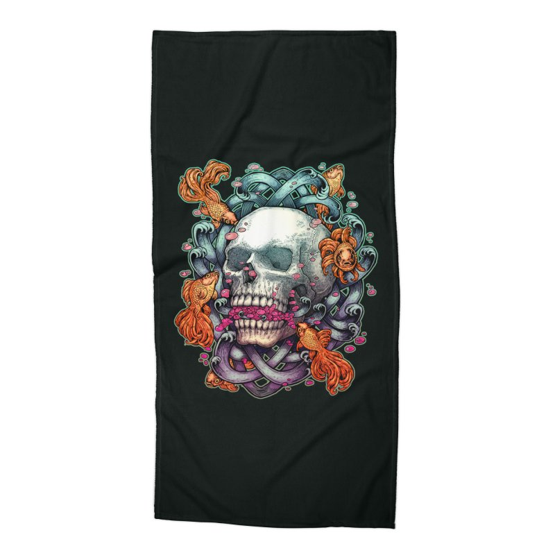 Skull and Goldenfishs Accessories Beach Towel by villainmazk's Artist Shop