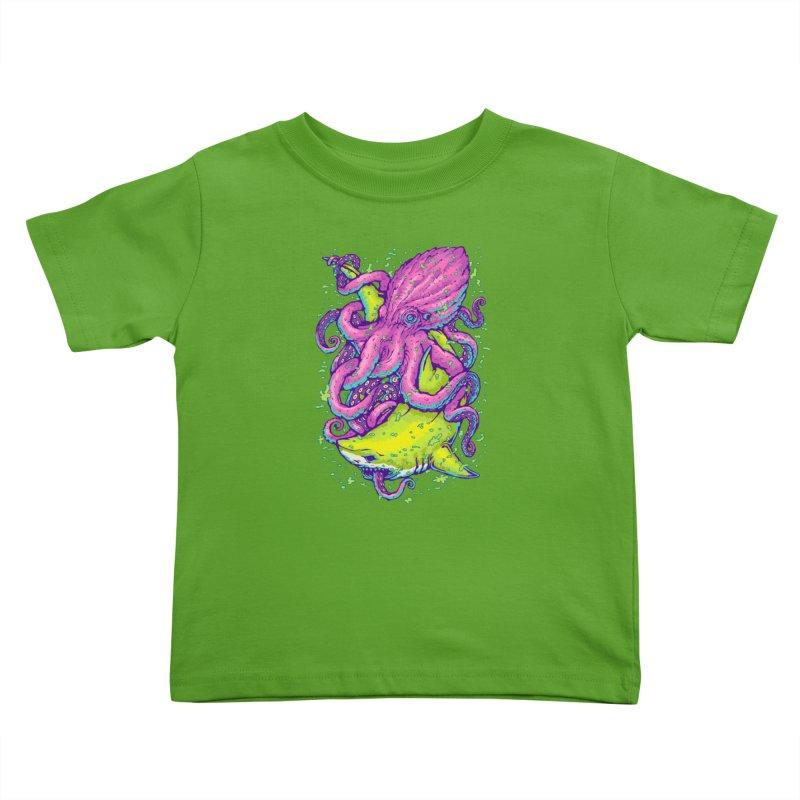 Shark vs Octopus Kids Toddler T-Shirt by villainmazk's Artist Shop