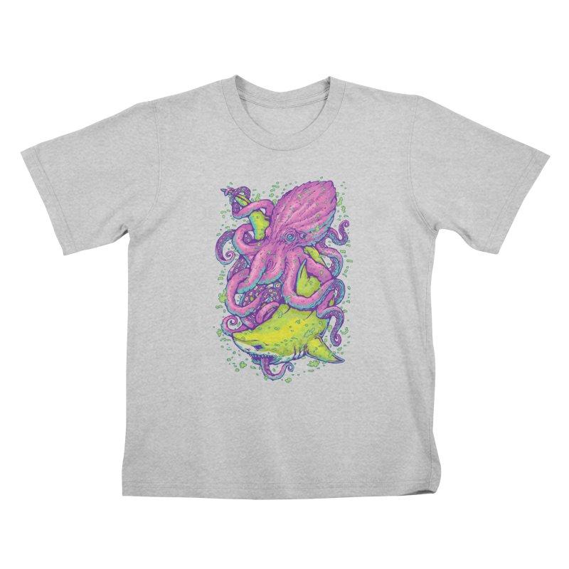 Shark vs Octopus Kids T-Shirt by villainmazk's Artist Shop