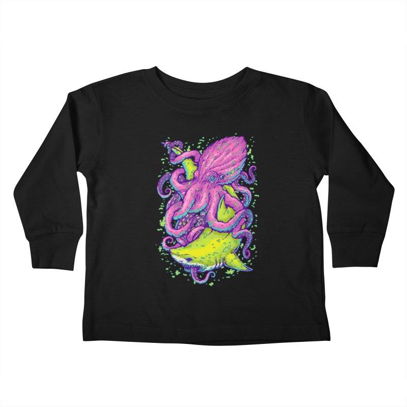 Shark vs Octopus Kids Toddler Longsleeve T-Shirt by villainmazk's Artist Shop