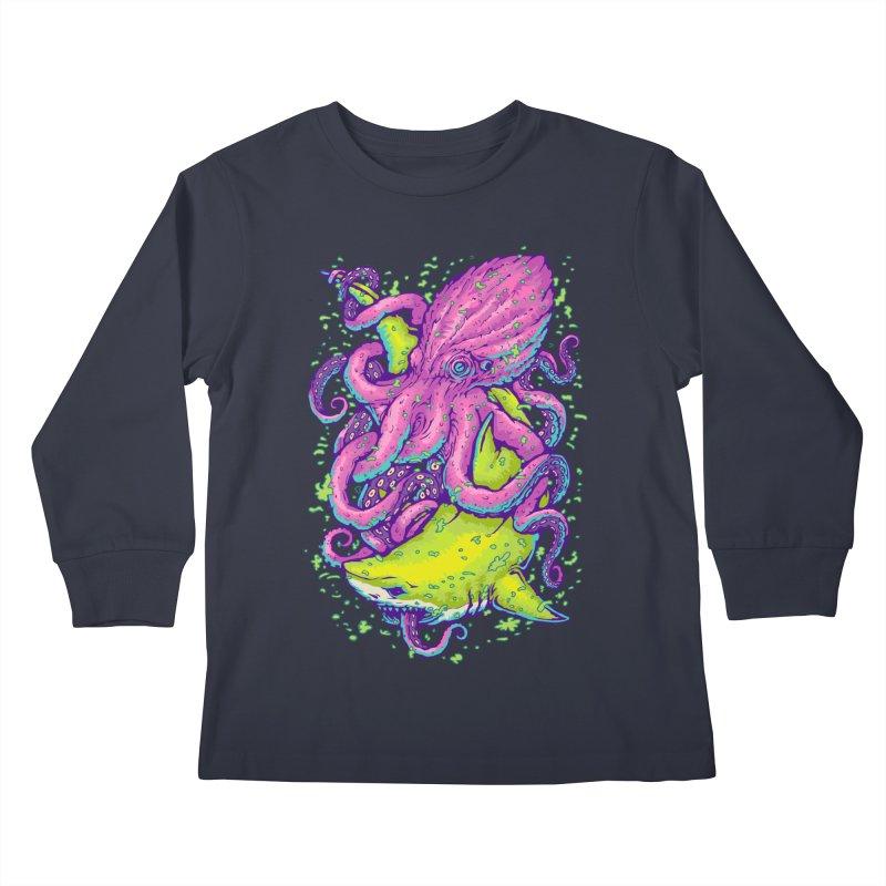 Shark vs Octopus Kids Longsleeve T-Shirt by villainmazk's Artist Shop