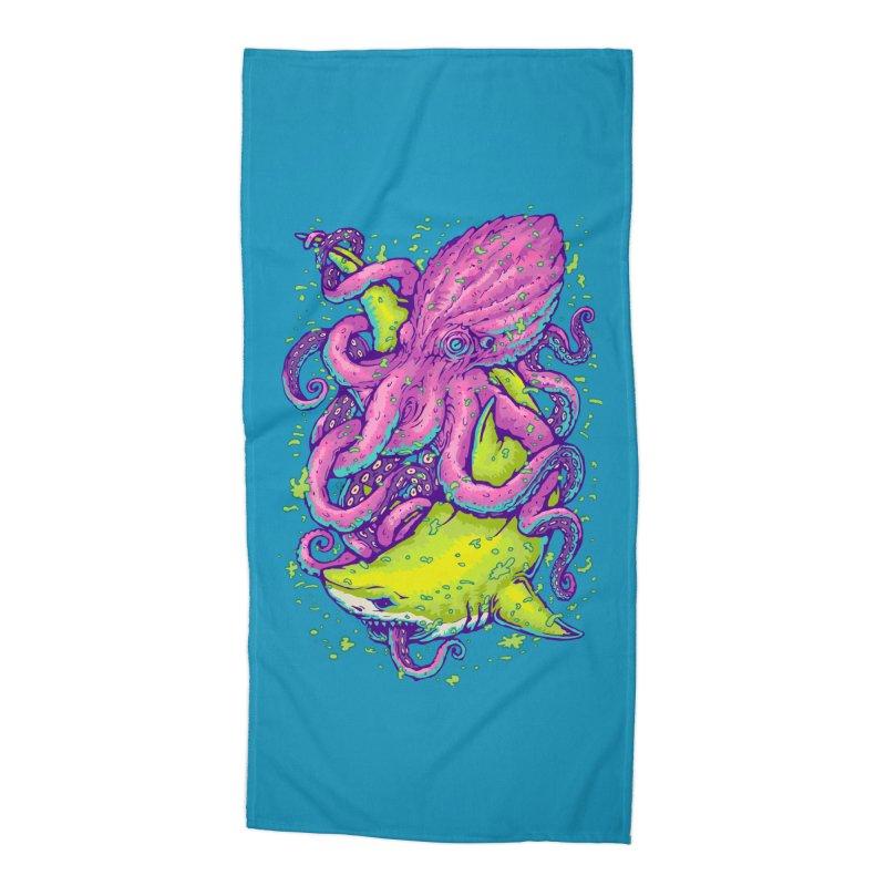 Shark vs Octopus Accessories Beach Towel by villainmazk's Artist Shop