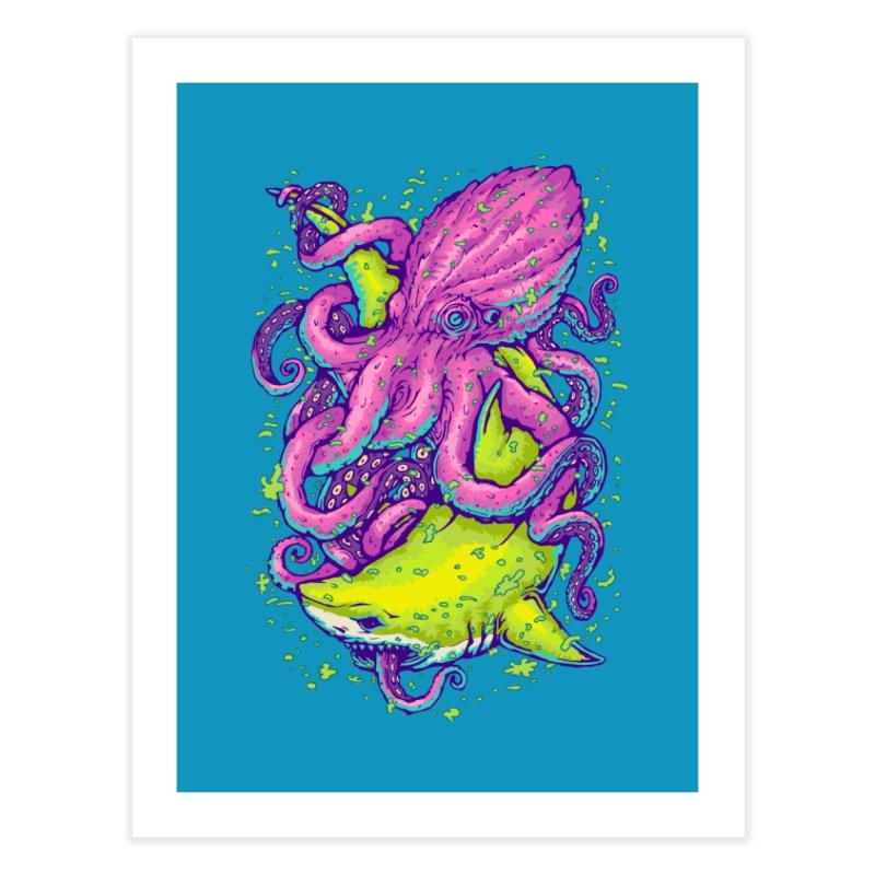 Shark vs Octopus Home Fine Art Print by villainmazk's Artist Shop