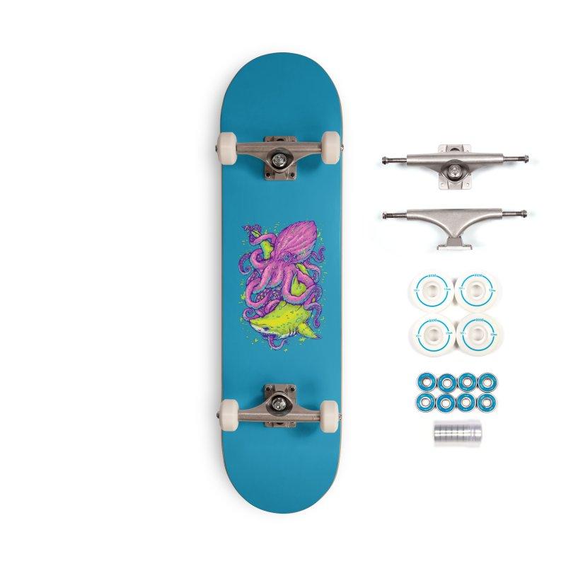 Shark vs Octopus Accessories Skateboard by villainmazk's Artist Shop