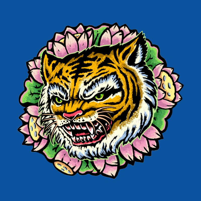 Tiger & Lotus Accessories Greeting Card by villainmazk's Artist Shop