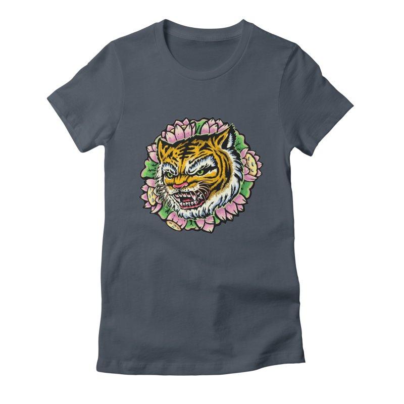 Tiger & Lotus Women's T-Shirt by villainmazk's Artist Shop