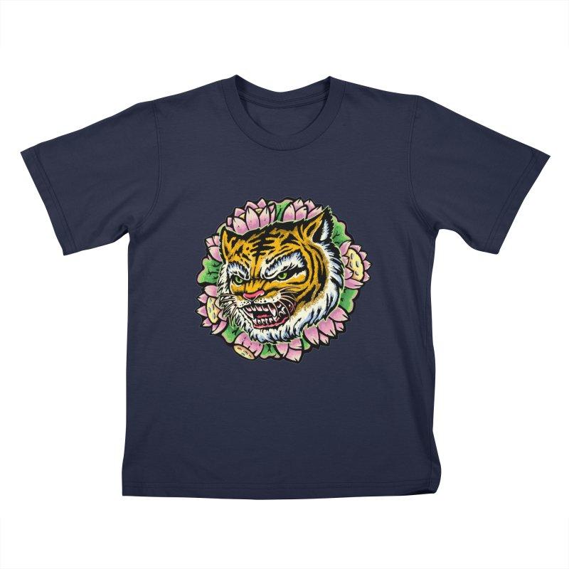 Tiger & Lotus Kids T-Shirt by villainmazk's Artist Shop