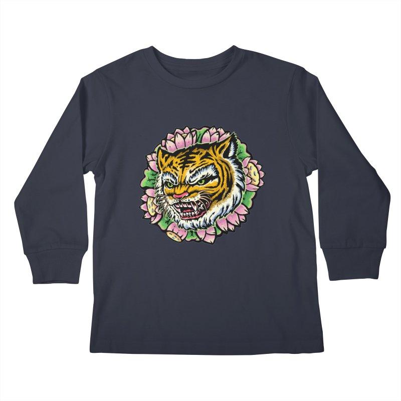 Tiger & Lotus Kids Longsleeve T-Shirt by villainmazk's Artist Shop