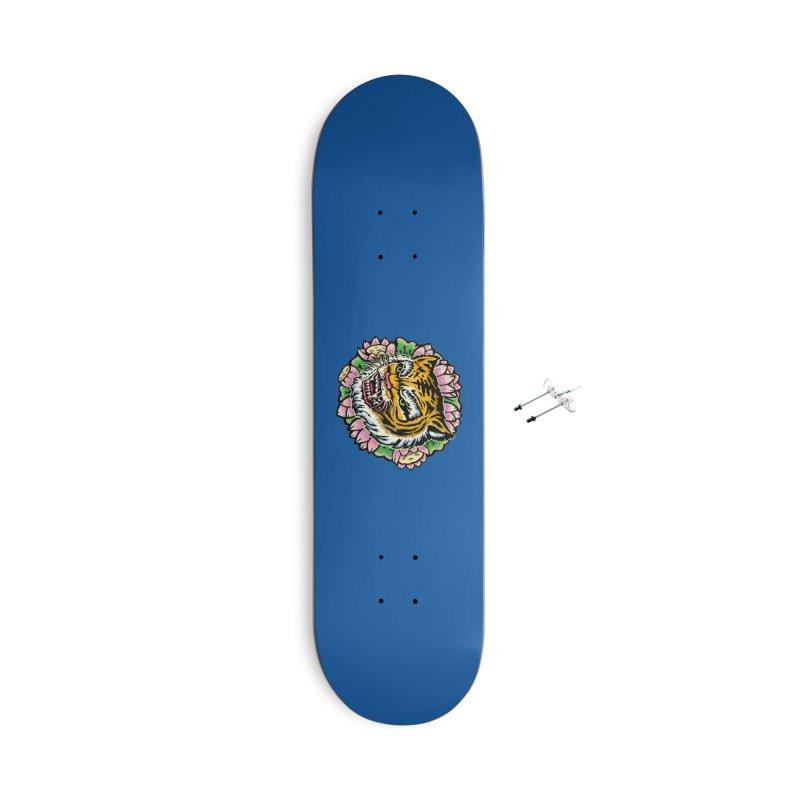 Tiger & Lotus Accessories Skateboard by villainmazk's Artist Shop