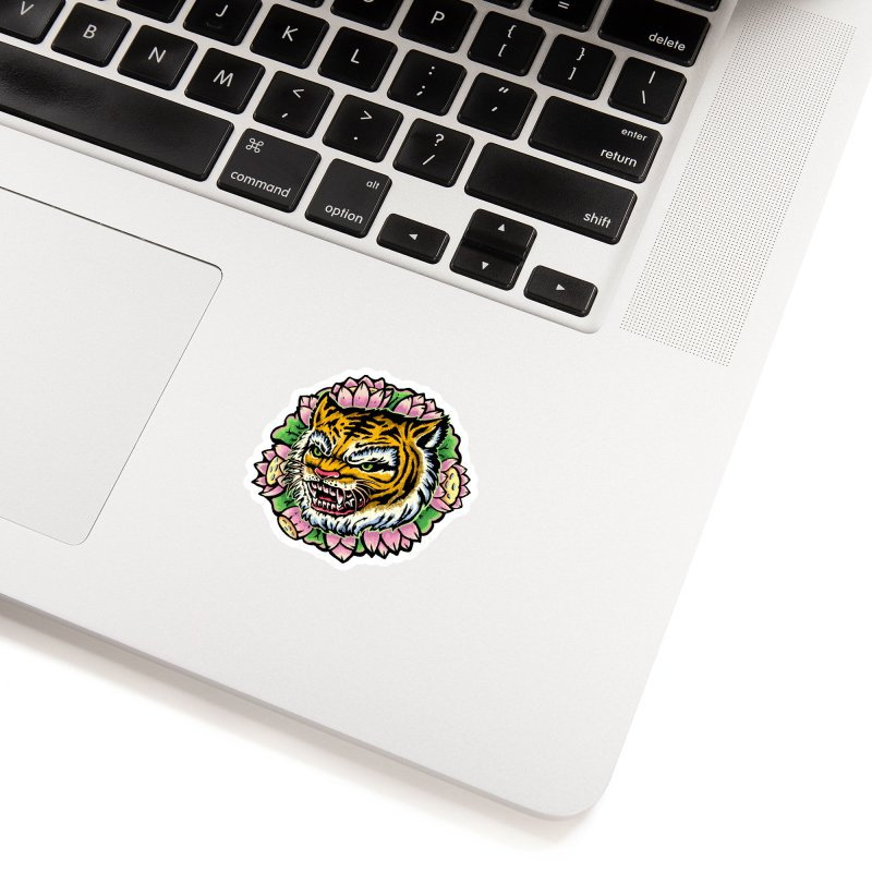 Tiger & Lotus Accessories Sticker by villainmazk's Artist Shop