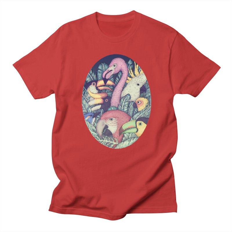 The Jungle Birds in Men's Regular T-Shirt Red by villainmazk's Artist Shop