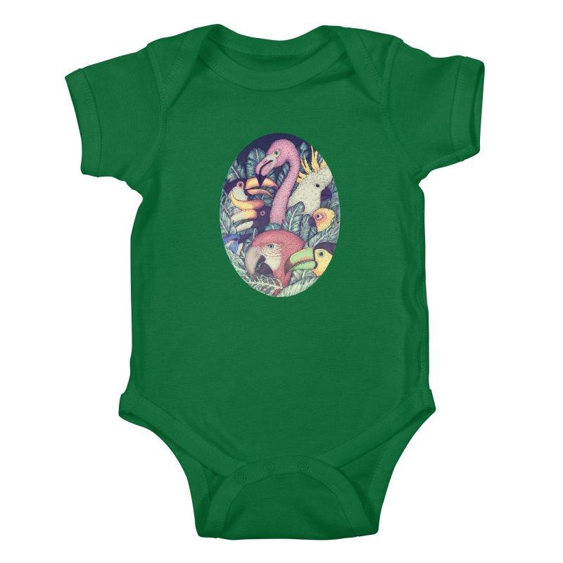 The Jungle Birds Kids Baby Bodysuit by villainmazk's Artist Shop