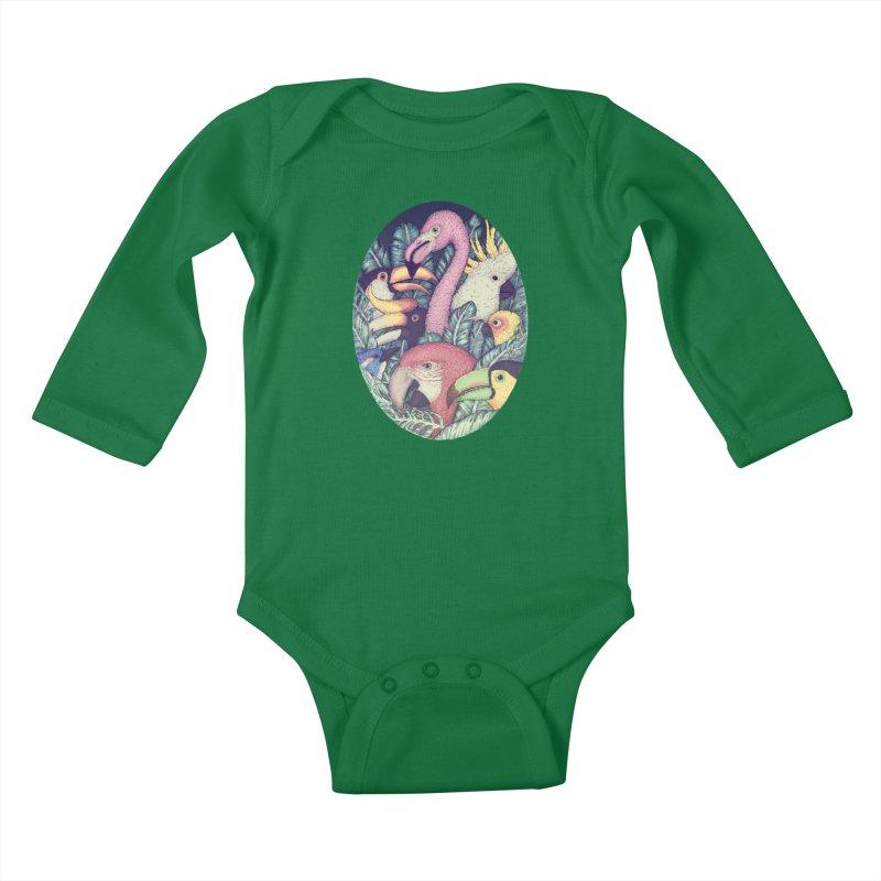 The Jungle Birds Kids Baby Longsleeve Bodysuit by villainmazk's Artist Shop