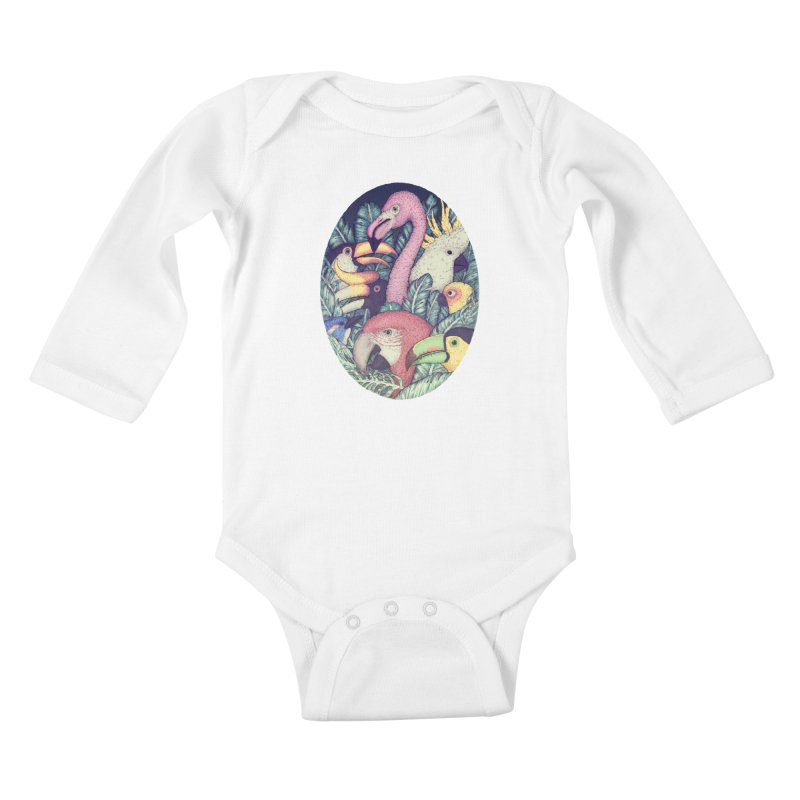 The Jungle Birds Kids Baby Longsleeve Bodysuit by villainmazk's Artist Shop