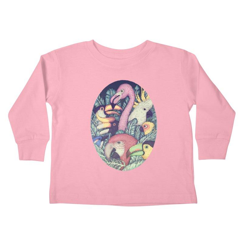 The Jungle Birds Kids Toddler Longsleeve T-Shirt by villainmazk's Artist Shop