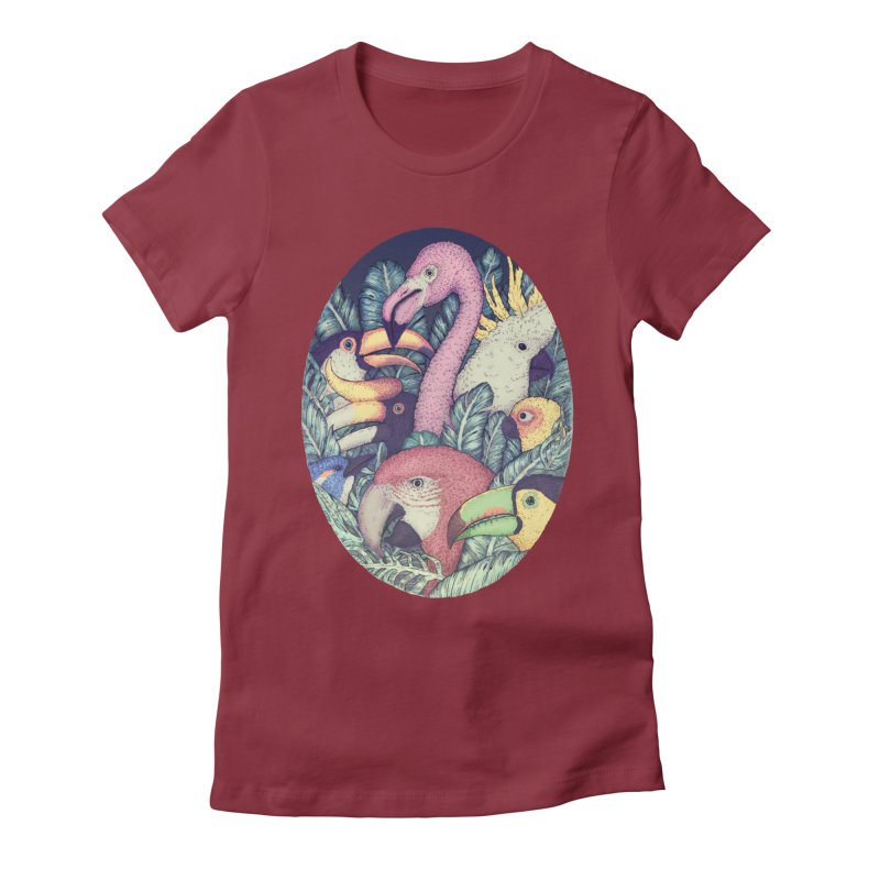 The Jungle Birds Women's Fitted T-Shirt by villainmazk's Artist Shop
