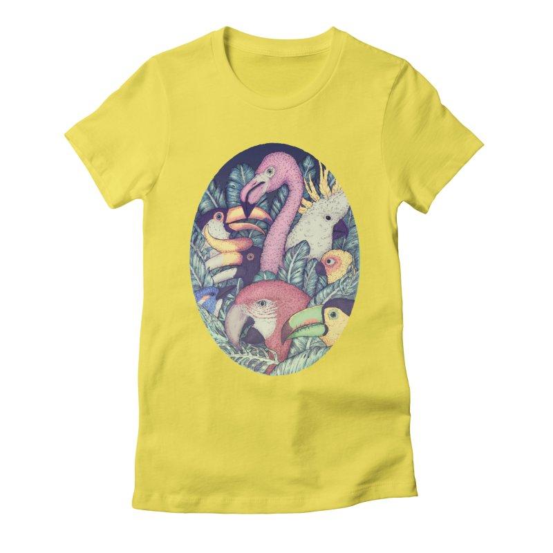 The Jungle Birds Women's Fitted T-Shirt by villainmazk's Artist Shop