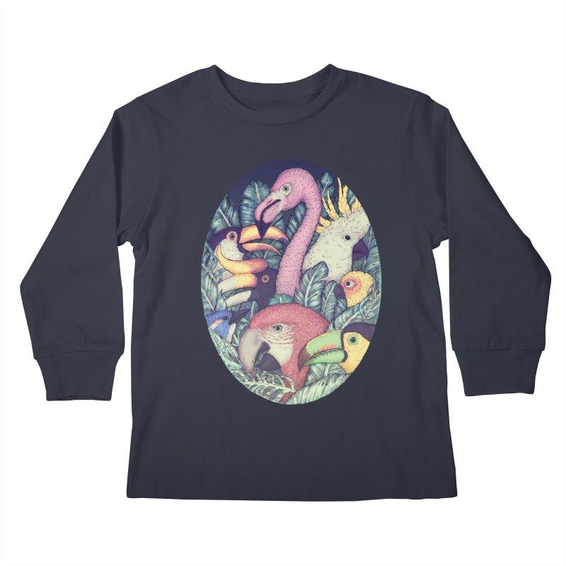 The Jungle Birds Kids Longsleeve T-Shirt by villainmazk's Artist Shop