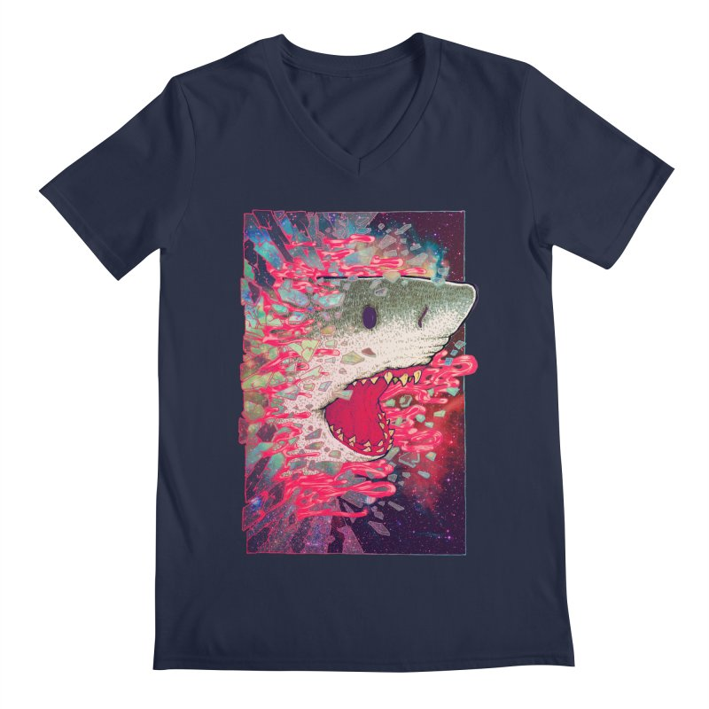 SHARK FROM OUTER SPACE Men's V-Neck by villainmazk's Artist Shop
