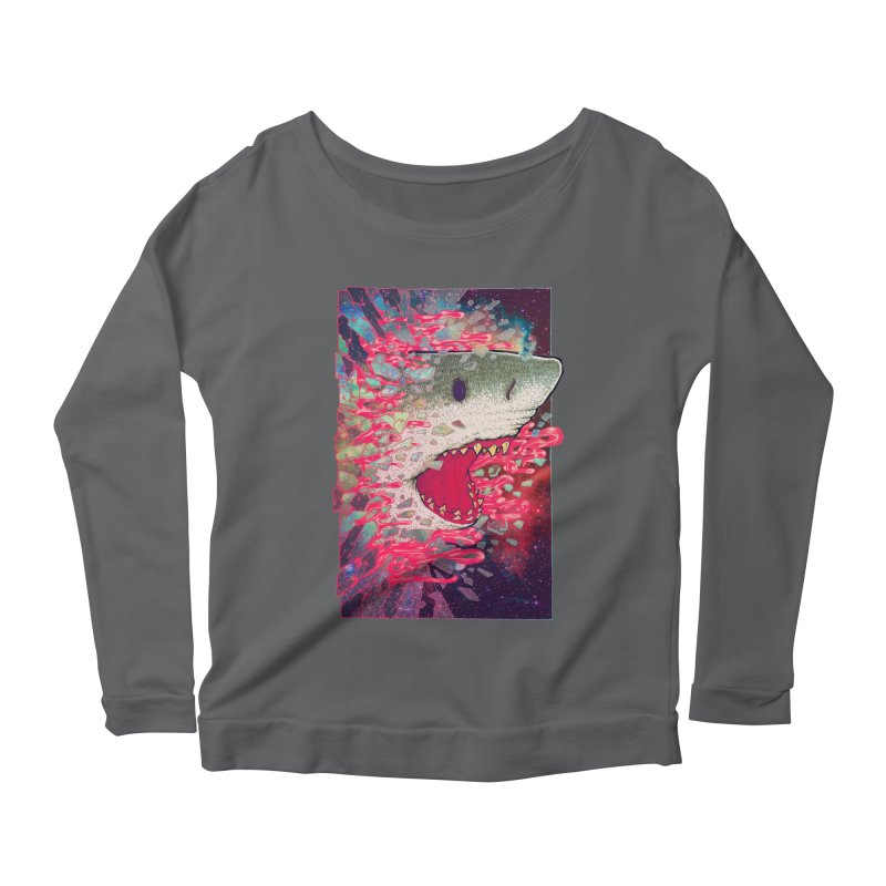 SHARK FROM OUTER SPACE Women's Longsleeve Scoopneck  by villainmazk's Artist Shop