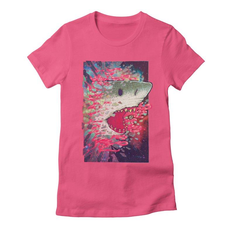 SHARK FROM OUTER SPACE Women's Fitted T-Shirt by villainmazk's Artist Shop