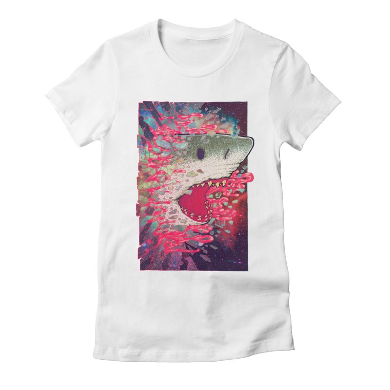 SHARK FROM OUTER SPACE Women's Fitted T-Shirt by villainmazk's Artist Shop
